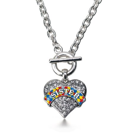 Autism Sister Pave Heart Toggle Necklace
