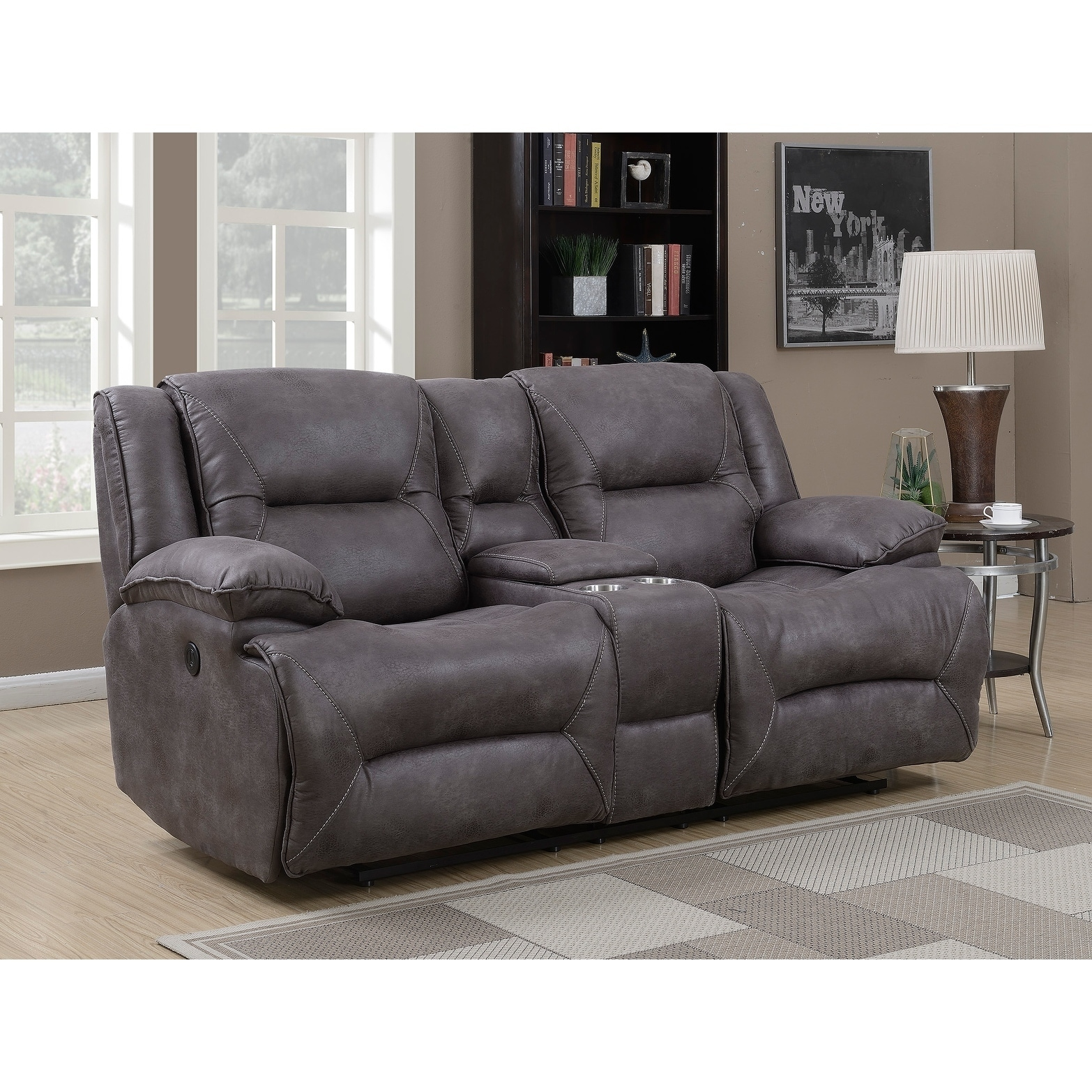 Mstar Dylan Dual Power Reclining Loveseat With Storage Console, Memory Foam  Seat Toppers, USB