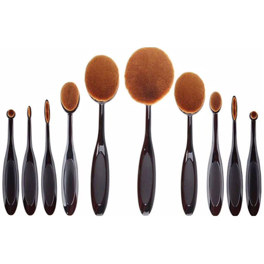 Koolulu Professional Oval Makeup Brush Set, 10 pc
