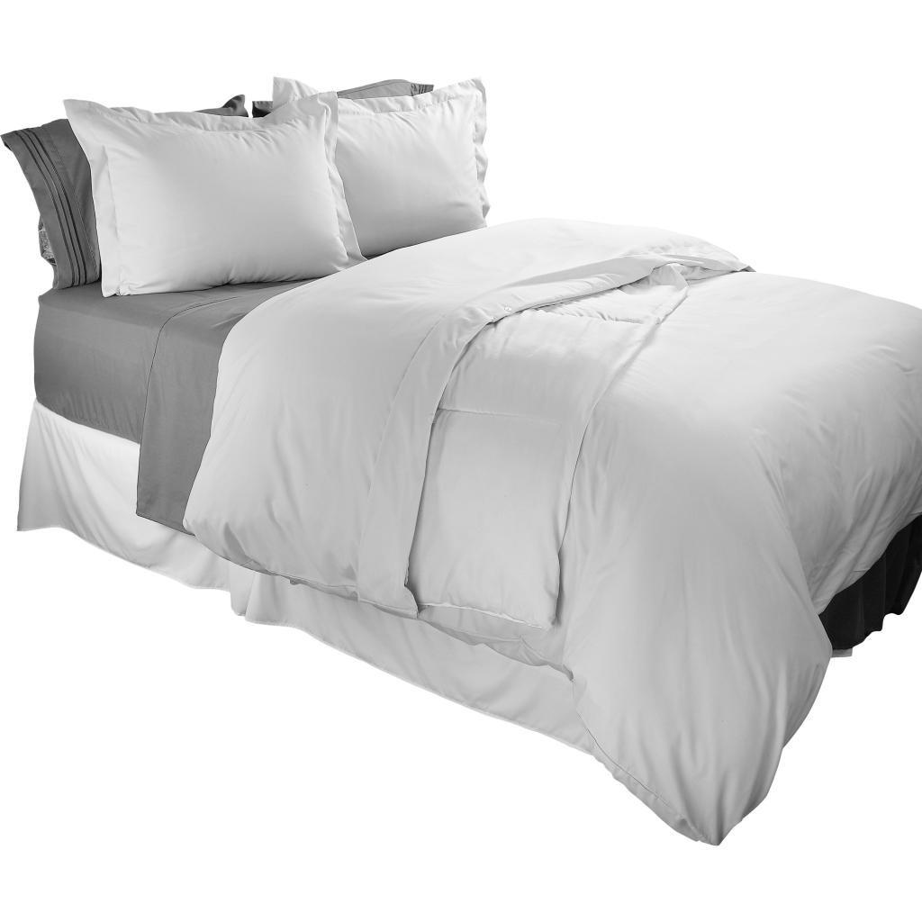 Clara Clark 1800 Series Duvet Cover Set 3pc - Includes 2 Pillow Shams King Size, White