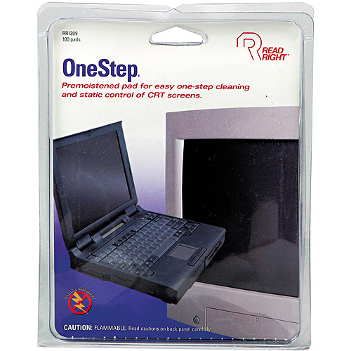 Read Right OneStep CRT White Screen Cleaning Pads, 100 count
