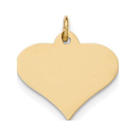 14k Yellow Gold Plain .013 Gauge Engraveable Heart Disc Pendant / Charm - image 2 de 2