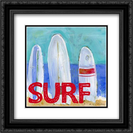 Boys Nautical Boats Surf 2x Matted 20x20 Black Ornate Framed Art Print by Wingard, Pamela J.