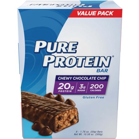 Pure Protein Bar, Chewy Chocolate Chip, 20g Protein, 6 (Best Protein Snack Bars)
