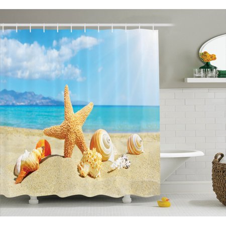 Seaside Bathroom Accessories (Seashells Decor Shower Curtain Set, Summer Beach Theme And Sand With Starfish Seashells Rays In The Sky Clouds Seaside Marine, Bathroom Accessories, 69W X 70L Inches, By)