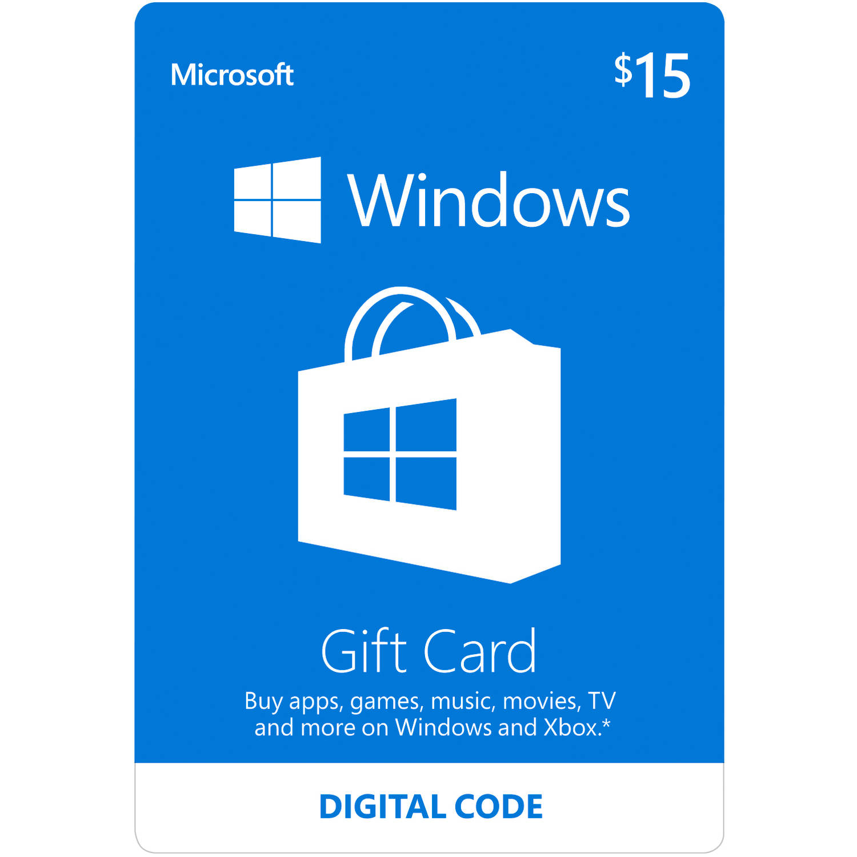 Microsoft Windows Store Gift Card Digital $15 (Digital Code)