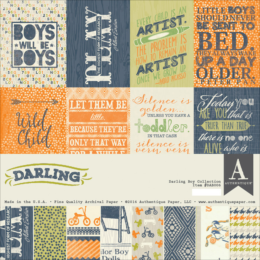 "Authentique Collection Kit, 12"" x 12"", Darling Boy"