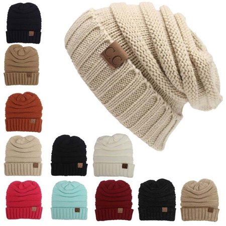 - Women Men Winter Knitted Wool Cap Unisex Folds Casual CC labeling Beanies Hat Solid Color Hip-Hop Skullies Beanie Hat Gorros