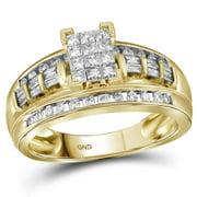 10k Yellow Gold Womens Princess Diamond Cluster Bridal Wedding Engagement Ring 1/2 Cttw - Size 6