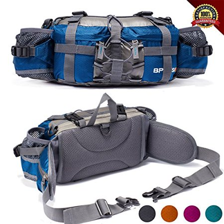 Lumbar Pack - YUOTO Outdoor Fanny Pack Hiking Camping Hunting Ski Fishing Gear Waist Pack 2 Water Bottle Holder Lumbar Bag – Blue+Grey