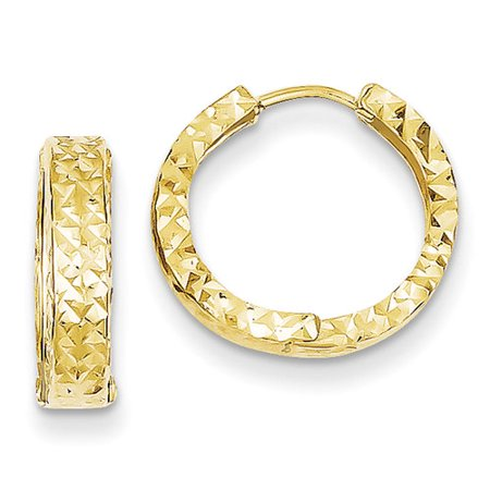 14kt Yellow Gold Diamond-Cut Hinged Hoop Earrings