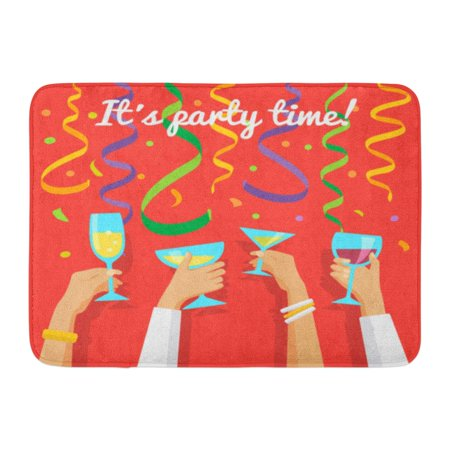 GODPOK Toast Party People Clinking Glasses of Champagne in Human Hands on Confetti and Streamers Birthday Drink Rug Doormat Bath Mat 23.6x15.7 (Bath Fixture Champagne Seeded Glass)
