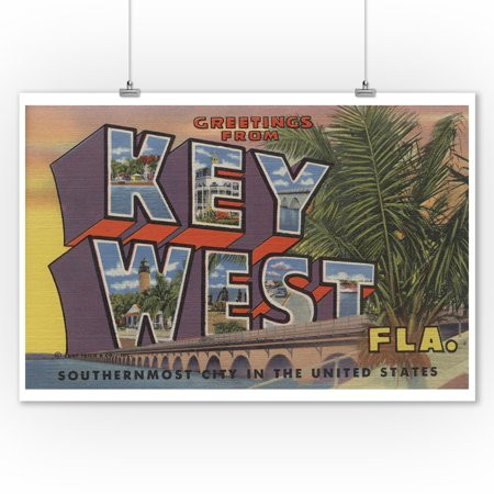 Key West, Florida - Large Letter Scenes (9x12 Art Print, Wall Decor Travel Poster) (Old West Scenes)
