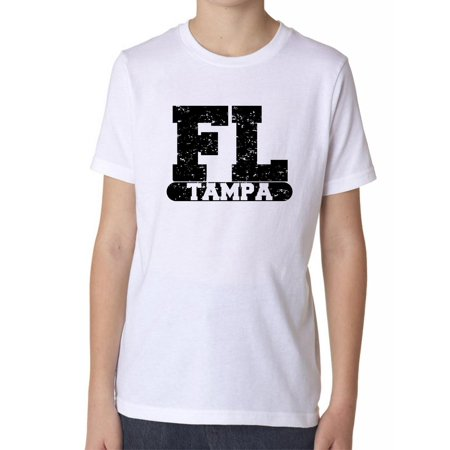 Tampa, Florida FL Classic City State Sign Boy's Cotton Youth T-Shirt