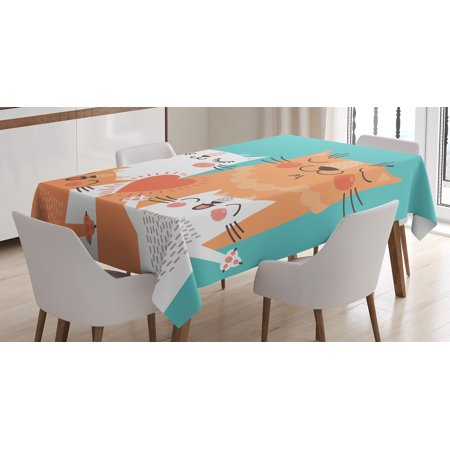 Funny Decor Tablecloth  Cute Kitten Couple Sweet Happy Paws Loving Heart With Family Cats Poster Style Theme  Rectangular Table Cover For Dining Room Kitchen  60 X 90 Inches  Multi  By Ambesonne