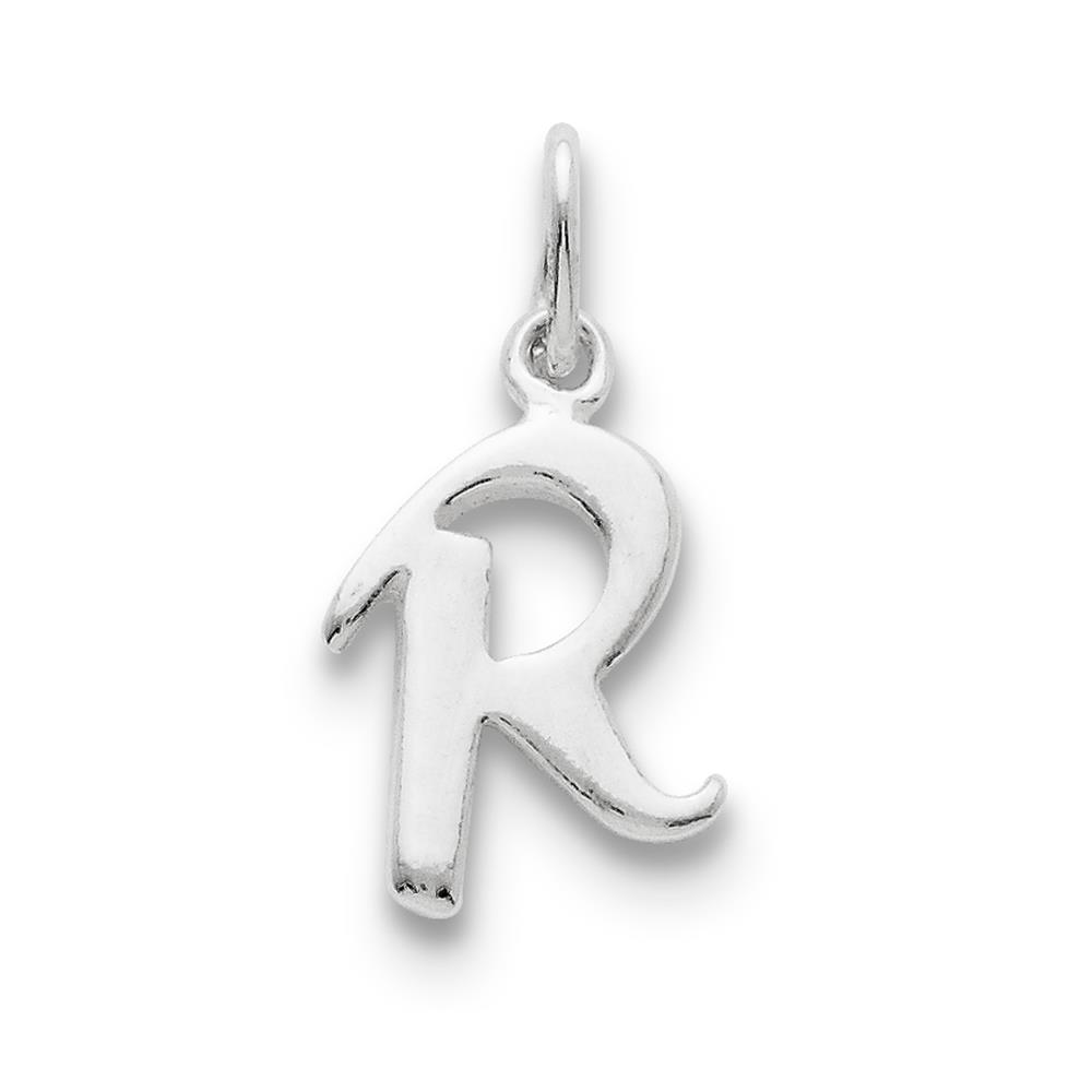 Chain slide Initial R Polished Solid Charm Pendant 925 Sterling Silver