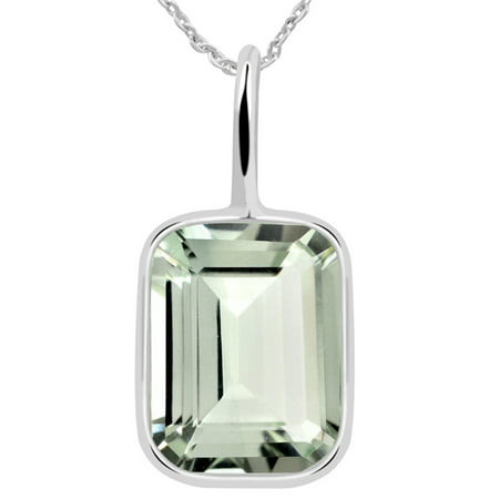 Natural 5 Carat Green Amethyst Sterling Silver Chain Pendant