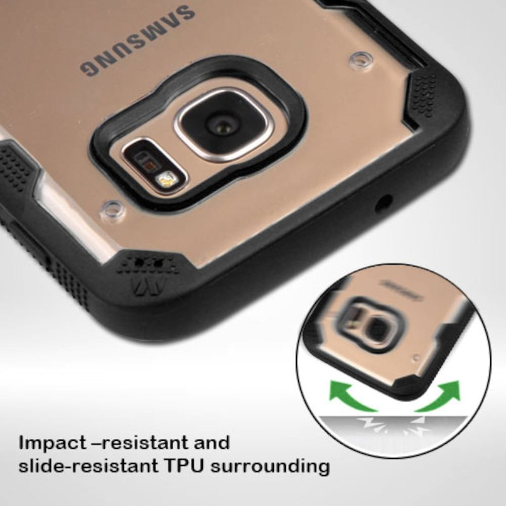 Insten Hard TPU Case For Samsung Galaxy S7 - Clear/Black - image 1 of 3
