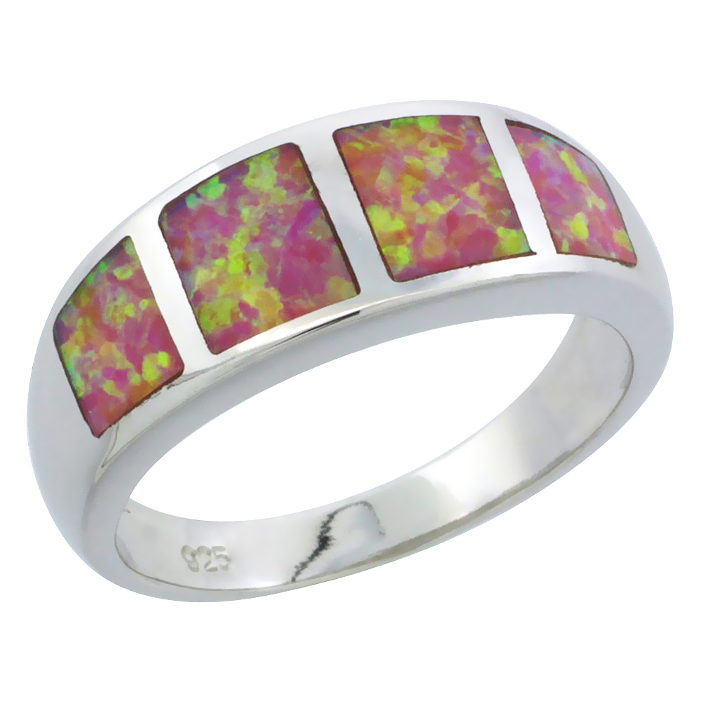 Sterling Silver Synthetic Pink Opal Square Pattern Ring, 5 16 inch by WorldJewels