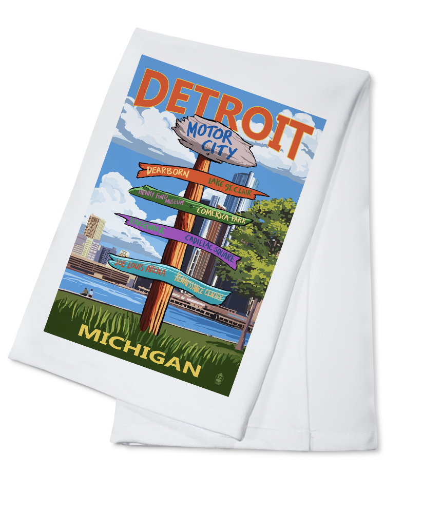 Detroit, Michigan Sign Post Lantern Press Artwork (100% Cotton Kitchen Towel) by Lantern Press