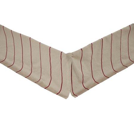 Crochet Tailored Split Corner Bedskirt - Greige Rouge Tan Farmhouse Bedding Charlotte Cotton Linen Blend Split Corners Tailored Striped King Bed Skirt