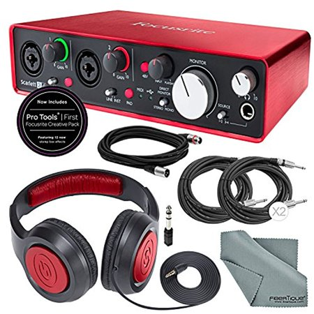 Focusrite Scarlett 2i4 USB Audio Interface W/ Deluxe Accessory Bundle with (Best Audio Interface For Djing With Ableton)