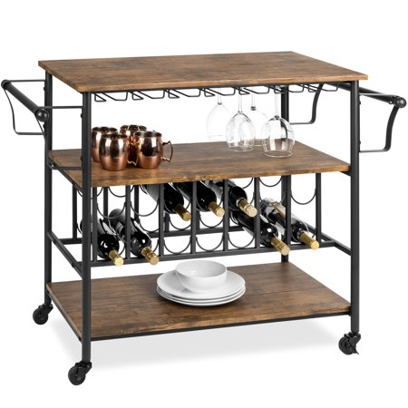 Best Choice Products 45in Industrial Wood Shelf Bar & Wine Storage Service Cart Now $129.99 (Was $236.99)