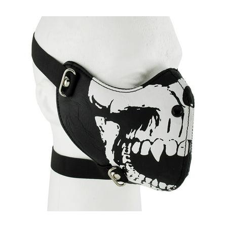 Black / White Vinyl Vampire Skull Half Face Mask Facemask - Scarecrow Vampire Fangs Small