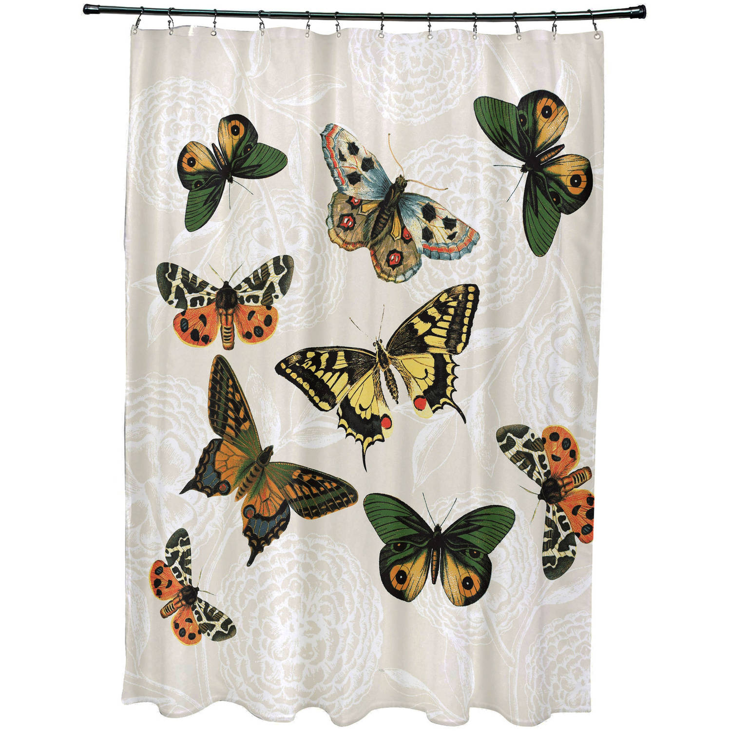 """Simply Daisy 71"""" x 74"""" Antique Butterflies and Flowers Animal Print Shower Curtain"""