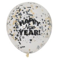 Happy New Year Confetti Balloons, 12in, 6ct