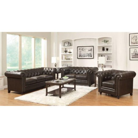 Coaster Roy 3 Piece Button Tufted Leather Sofa Set in Dark Brown ()