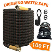 Garden Water Hose Lightweight - Drinking Water Safe with Solid Brass Fittings - Burst Strenght 500 psi Leak-Free 3 Layers Lead and BPA Free - Flexible with All-Weather 5/8 in (100ft)