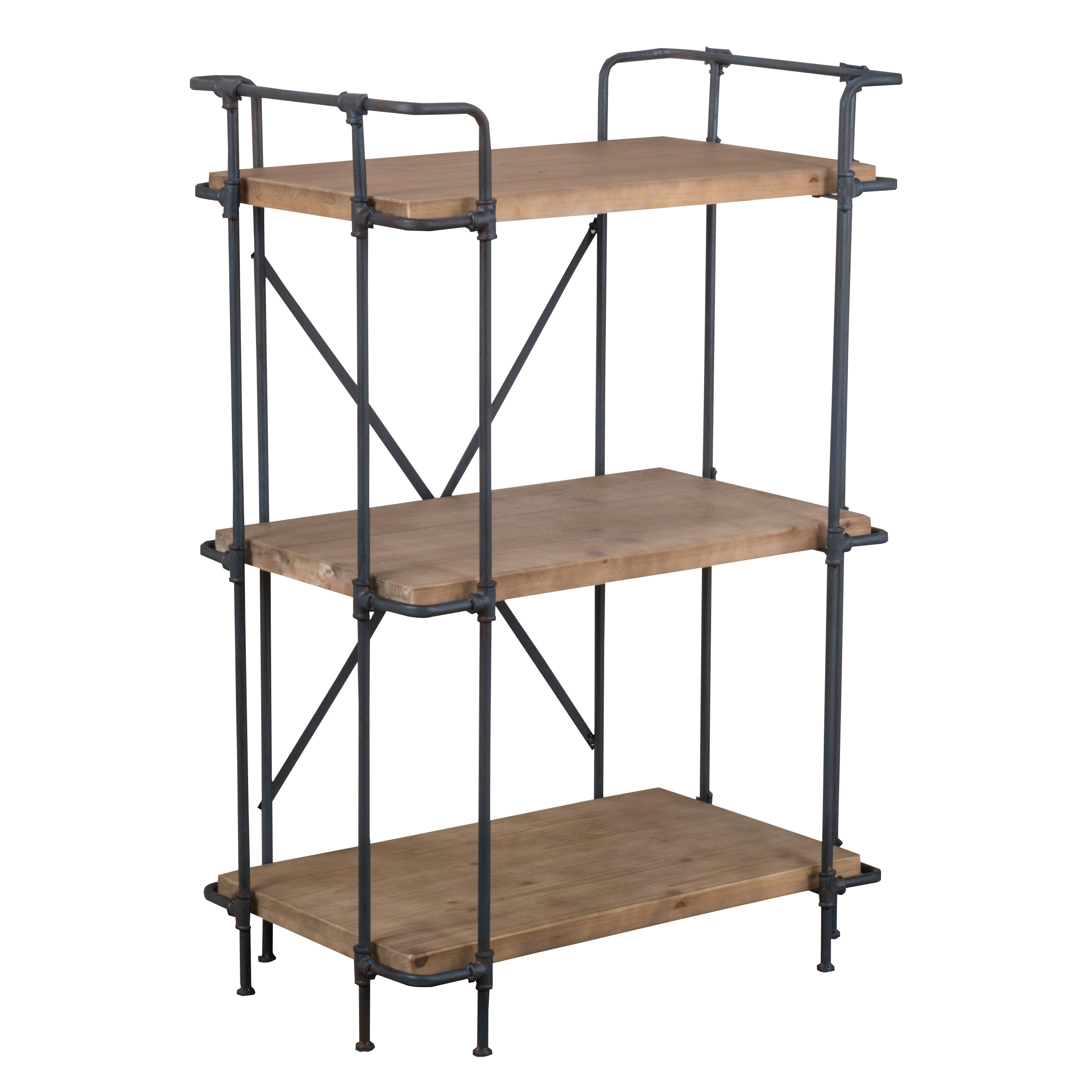 Brandon Outdoor Wood and Iron 3-Tier Shelf Etagere by GDF Studio