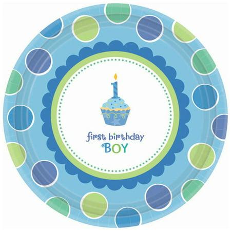 1st Birthday 'Sweet Lil' Cupcake Boy' Small Paper Plates (18ct) (Cupcake Plates)