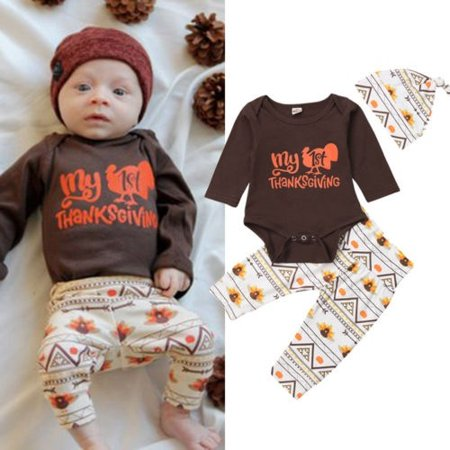3Pcs Thanksgiving Newborn Baby Boys Girls Tops Rompers Pants Hat Outfits Clothes