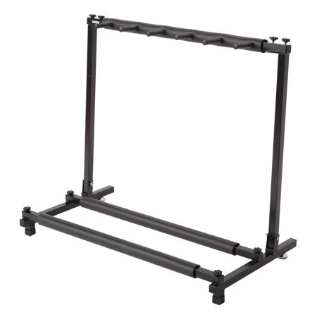 Reactionnx Multi Guitar Stand 5 Holder Foldable Universal Display Rack - Portable Black Guitar Holder.Padding for Classical Acoustic, Electric, Bass Guitar and Guitar Bag/Case Black