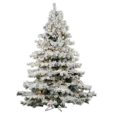 Vickerman 7.5ft Prelit Flocked Alaskan Pine Artificial Christmas Tree with  900 Clear LED Lights - Green - Walmart.com - Vickerman 7.5ft Prelit Flocked Alaskan Pine Artificial Christmas