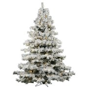 vickerman 9 flocked alaskan pine artificial christmas tree with 1200 warm white led lights - White Christmas Tree Lights