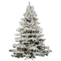 product image vickerman 9 flocked alaskan pine artificial christmas tree with 1200 warm white led lights