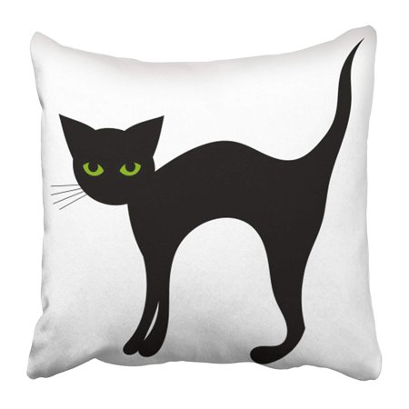 CMFUN Green Simple Black Cat Halloween White Back Cute Animal Beautiful Cartoon Character Pillow Case Cushion Cover 16x16 inch (Cartoon Character Makeup Halloween)