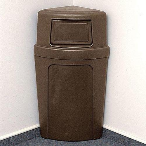 CONTINENTAL 8325-BN Side Opening Trash Can, Corner Round