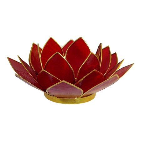 The Crabby Nook Lotus Tea Light Candle Holder, Capes Shell Decorating Accent Home Decor Gift Ideas, Cherry Red for $<!---->