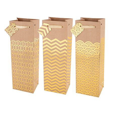 Set of Gold Wine Bags (3 ct) - Wine Bag