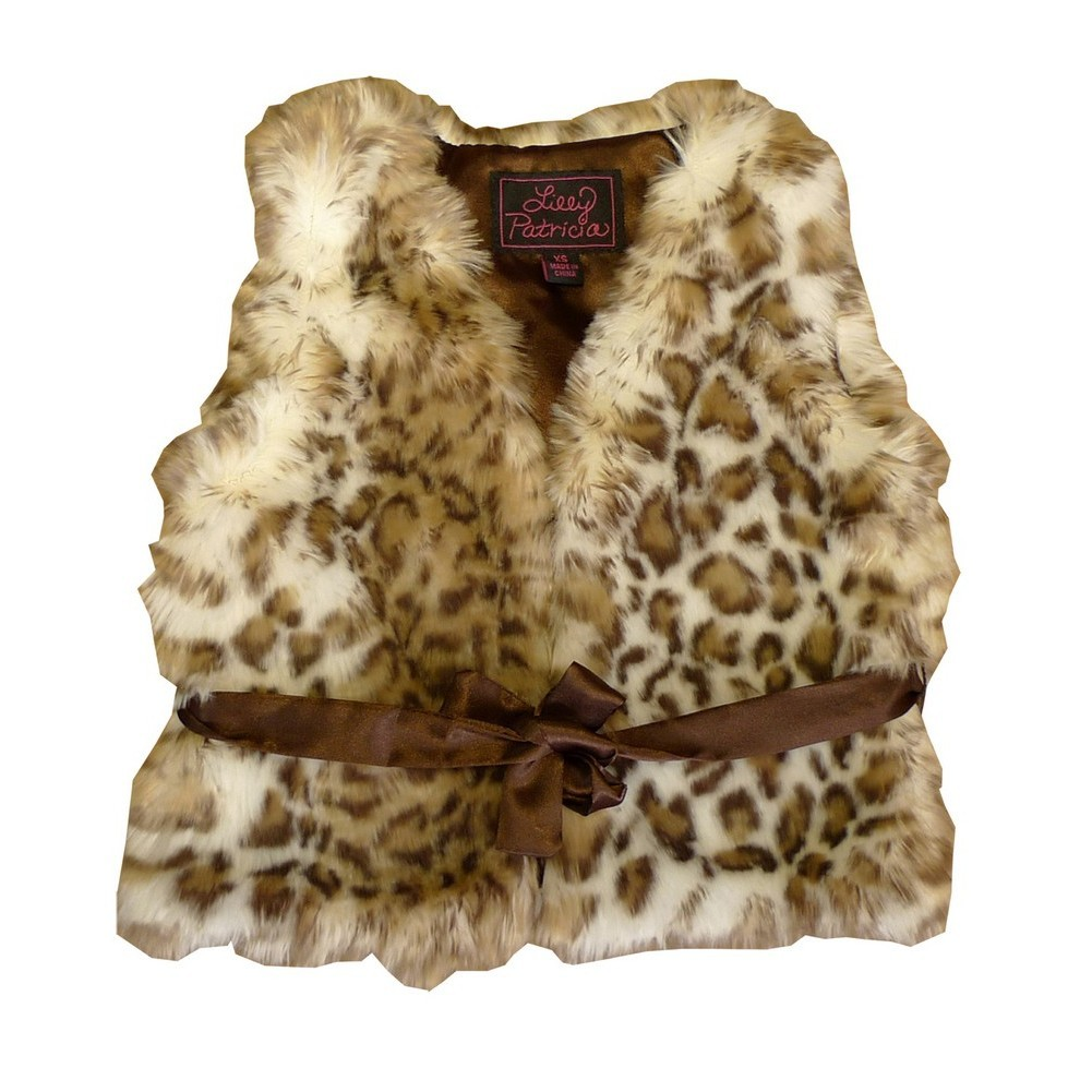 Girls Snow Leopard Faux Fur Vest 7-12