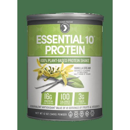 Designer Protein Essential 10 100% Plant Based Protein Powder, Vanilla, 16g Protein, 12