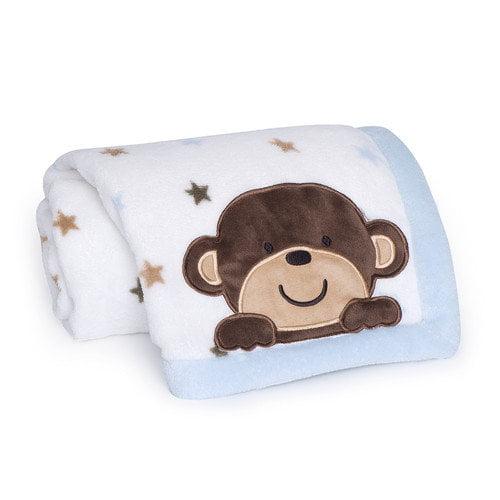Kids Line Monkey Rockstar Embroidered Boa Blanket