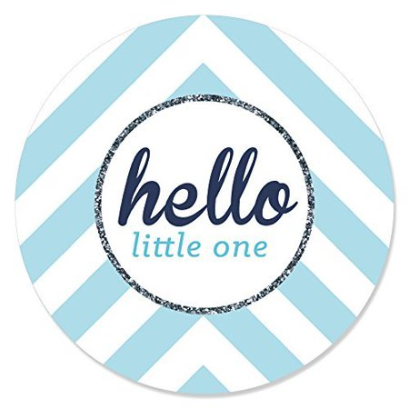 Hello Little One - Blue and Silver - Boy Baby Shower Circle Sticker Labels - 24 Count