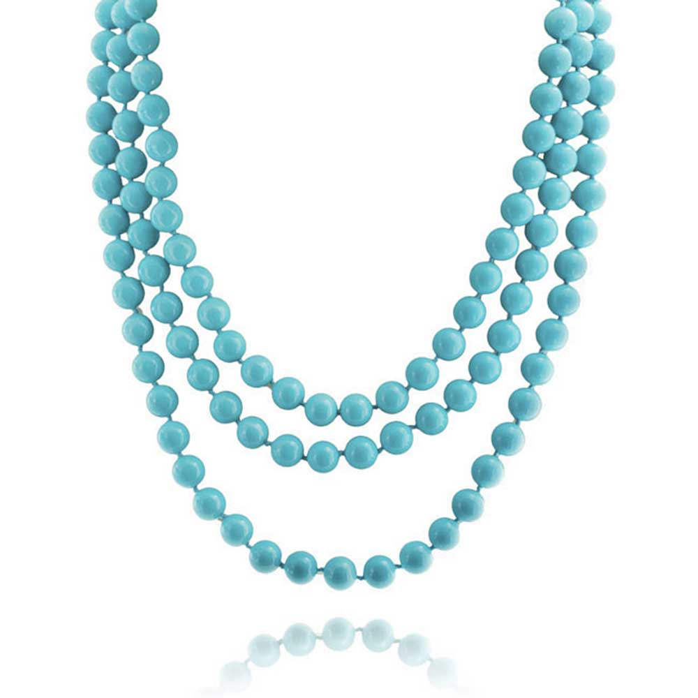 Blue Enhanced Turquoise Beads Endless Layering Long Strand Necklace For Women 69 Inch