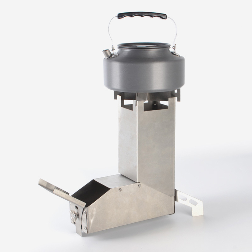 Outdoor Camping Stainless-Steel Rocket Wood Stove Picnic Hiking Cooking Furnace