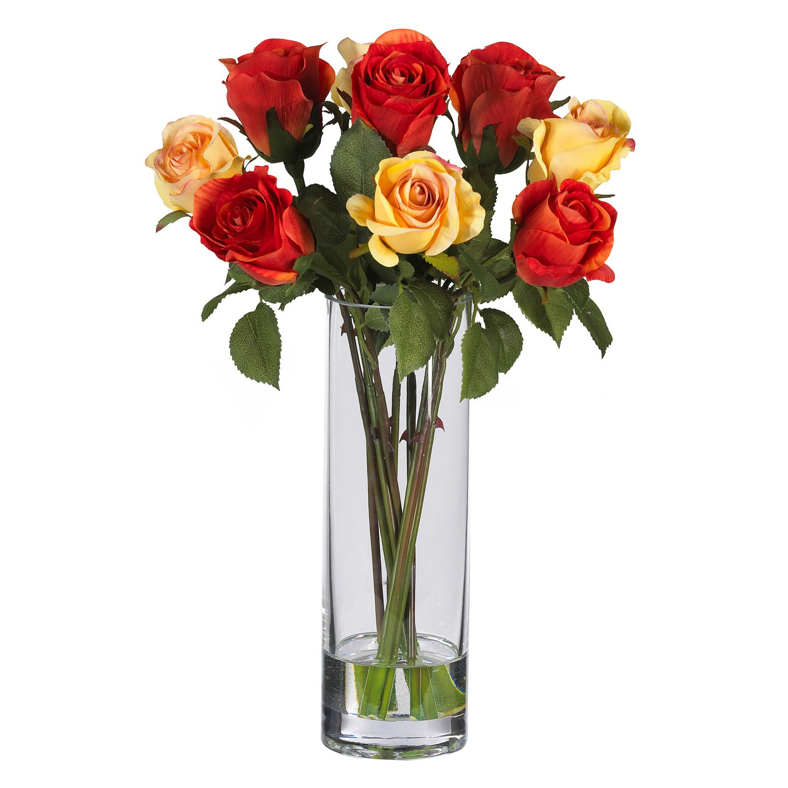 225 & Nearly Natural Roses with Glass Vase Silk Flower Arrangement